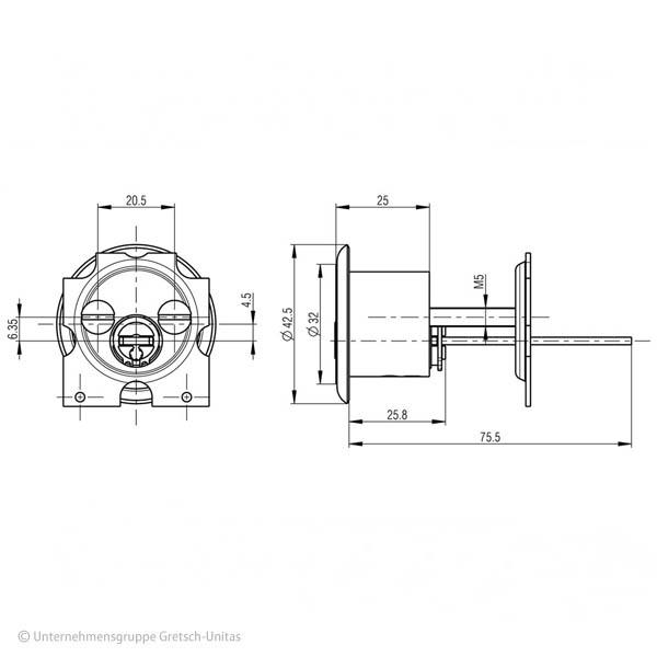 BKS Außenzylinder Querschnitt Aufriss Maße Aufbau