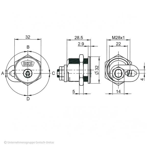 BKS Janus Serie 46 Hebelzylinder Querschnitt Aufriss Maße Aufbau