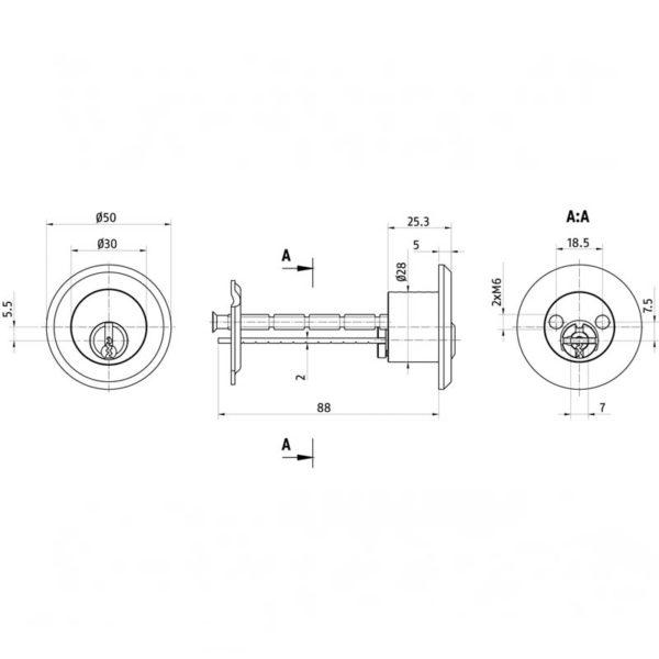 ABUS Hebelzylinder Querschnitt Aufriss Maße Aufbau