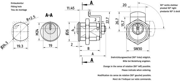ABUS Hebelzylinder Querschnitt Aufriss Maße 2