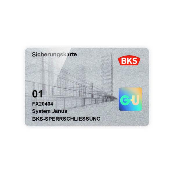 BKS Janus Sicherungskarte Schließzylinder für Schließanlagen + Gleichschließungen