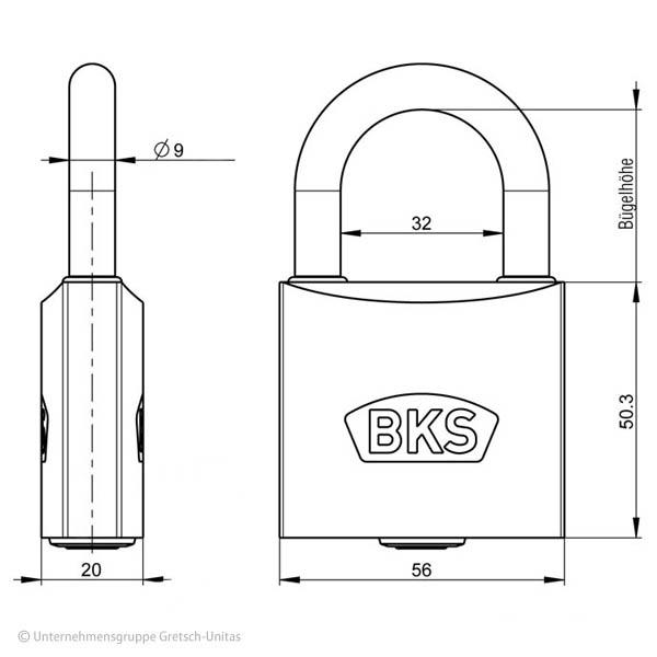 BKS Vorhangschloss Querschnitt Aufriss Maße Aufbau